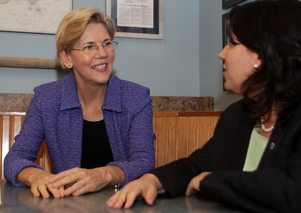 Elizabeth Warren, a law professor at Havard University, declared on Wednesday that she would be challenging current Senator Scott Brown for his seat in the United States Senate. Her campaign kicked off on Thursday with a trip to Gloucester where she met with State Representative Ann-Margaret Ferrante at Destino's.  David Le/Gloucester Daily Times