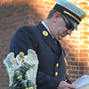 Gloucester: GFD Capt Steve Aiello remembers those who lost their lives, on the 10th year of 911, in a ceremony held at Central Fire Station Sunday morning.   Desi Smith/Gloucester Daily Times. September 11, 2011