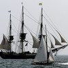 The Friendship, a schooner based in Salem, MA, races on open waters during the Schooner Festival on Sunday afternoon. David Le/Gloucester Daily Times.