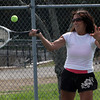 Gay Raftery, of Gloucester plays tennis down at Stage Fort Park. David Le/Gloucester Daily Times
