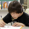 Rockport High School 9th grader Alex Gore concentrates while he works during class on Monday afternoon. David Le/Gloucester Daily Times