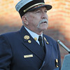 Gloucester: Chief Phil Dench talks about the tragic day of 911, on the 10th year anniversary in a ceremony held at Central Fire Station Sunday morning.   Desi Smith/Gloucester Daily Times. September 11, 2011
