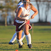 Gloucester:  Gloucester's Meghan Muniz takes the ball up field against Salem, yesterday afternoon at GHS. Desi Smith/Gloucester Daily Times. September 19, 2011