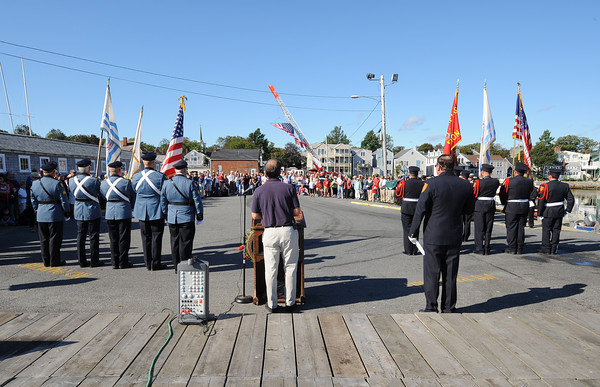Rockport: Rockport Police and Firefighter Color Guards stand at attention at a ceremomy remembering those who lost their lives 10 years ago on 9/11 in New York.  Desi Smith/Gloucester Daily Times. September 11, 2011