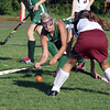 Manchester-Essex player Taylor Coons, left, keeps her eyes on the ball as she and Rockport's Eliza Ottenheimer, go after a loose ball during their game on Monday afternoon. David Le/Gloucester Daily Times