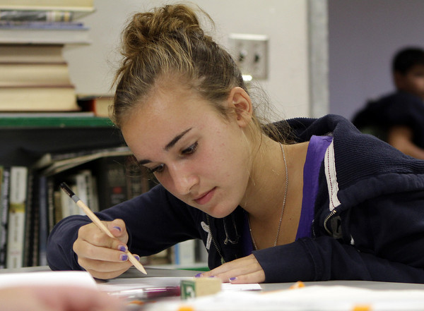 Aliza Ottenheimer, a 9th grade student at Rockport High School, makes a value chart during her Art I class on Tuesday afternoon. David Le/Gloucester Daily Times