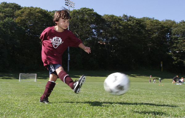 Charlie Coyne, 8, of Rockport fires a shot on net during practice for his Rockport Youth Soccer team on Friday afternoon. David Le/Gloucester Daily Times