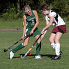 Manchester-Essex player Taylor Meek, left, and Rockport's Meghan Reilly, right, battle for a 50/50 ball in their game on Monday evening. David Le/Gloucester Daily Times