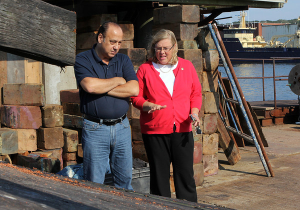 Mayor Carolyn Kirk, right, and Anthony Cusumano, of the St. Peter's Fiesta Committee, look at part of the greasy pole platform that was lifted out of the water and onto a dock at Rose's Marina on Friday afternoon. David Le/Gloucester Daily Times