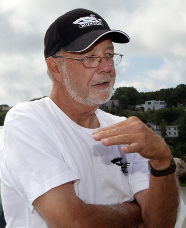 Paul St. Germain, President of the Thacher Island Association, talks about the restoration of the lighthouse on Straitsmouth Island. David Le/Gloucester Daily Times