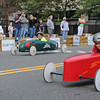 Gloucester: Kayla Pennimpede 9, (left looks over at Will Kennedy 9, who edged him out at the finish, in the Modified Divison, at the Fishbox Durby held Sunday afternoon on Roger St.  Desi Smith/Gloucester Daily Times. September 18, 2011