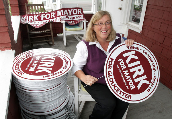 Incumbant Mayor Carolyn Kirk is preparing for her re-election campaign against mayoral candidate Ken Sarofeen. David Le/Gloucester Daily Times