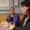 Elizabeth Warren, who will be running for Massachusetts State Senator against current Senator Scott Brown, sat down with Massachusetts State Representative Ann-Margaret Ferrante, at Destino's in Gloucester on Thursday. David Le/Gloucester Daily Times