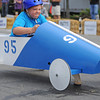 Gloucester: Brett Roberts hits the breaks hard after crossing the finish line in the Modified Divison, at the Fishbox Durby held Sunday afternoon on Roger St.  Desi Smith/Gloucester Daily Times. September 18, 2011