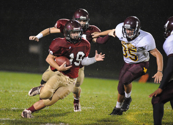 Gloucester:  Gloucester's Nick Tormina looks for some running room against Weymouth,last night at Newell Stadium. Desi Smith/Gloucester Daily Times. September 23, 2011