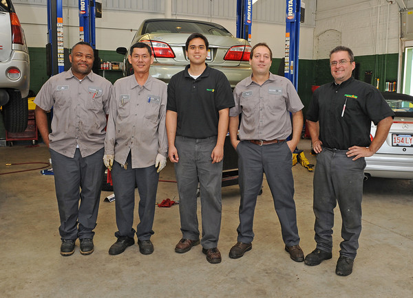 Gloucester: The new Sullivan Tire Team from left Ed Ortaz,Dinh Nguyen, Manager Arthur Aguirre, Tom Caso and Asst.Manager Robert Gouveia.  Desi Smith/Gloucester Daily Times. September 10, 2011