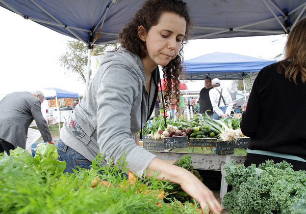 Kara Mears, of Essex, looks over some fresh produce from Aprilla Farm in Essex at the Cape Ann Farmer's Market at Stage Fort Park on Thursday afternoon. David Le/Gloucester Daily Times
