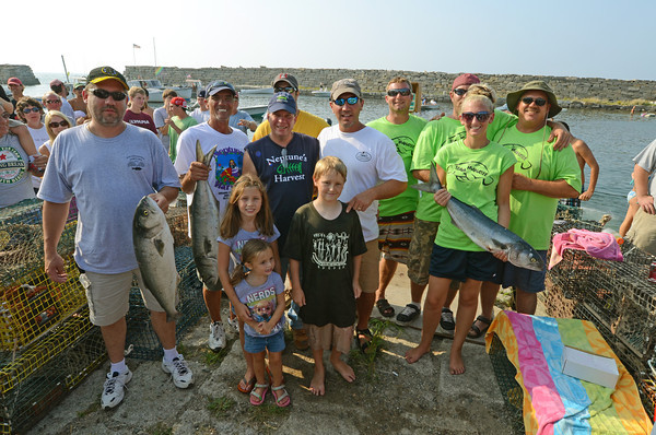 Gloucester:  First, Second and Third Place winners at the BlueFish Tournament at Lanes Cove Sunday afternoon.   Desi Smith/Gloucester Daily Times. September 5, 2011