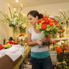 Allegra Boverman/Gloucester Daily Times Celia Gibson of Celia's Flower Studio in Lanesville, preparing for a very busy weekend of weddings on Friday afternoon. She was doing flowers for six different weddings with the help of two friends who are also her assistants.