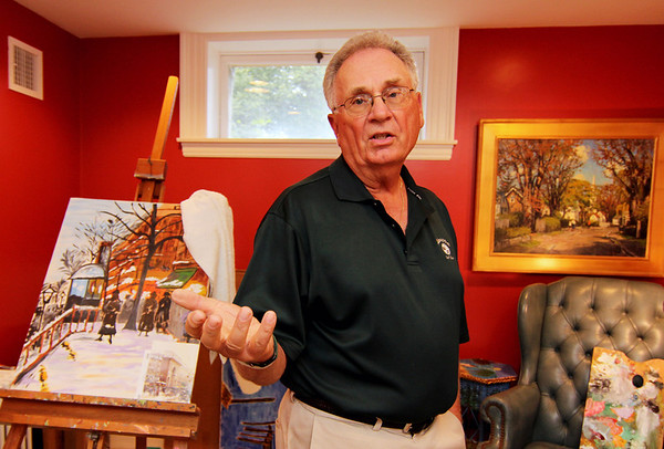"""ALLEGRA BOVERMAN/Gloucester Daily Times """"Hazards Within The Art Community"""" is the title of a Lecture by Dr. David Vastola of Rockport at the Rockport Art Association on Wed., Sept. 5 at  7 p.m.  He was talking about how to clean up paints and brushes properly, and how to keep pets safe from toxic art supplies."""