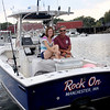 ALLEGRA BOVERMAN/Gloucester Daily Times Heidi Burgess and her father Richard Burgess on their tuna fishing skiff, Rock On.