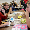 Allegra Boverman/Gloucester Daily Times Eating lunch on Monday morning, from left, are Gloucester High School seniors Hannah Sumner, Anthony Palazzola and Darien Foley. They were talking about how things are going so far now that school has started.