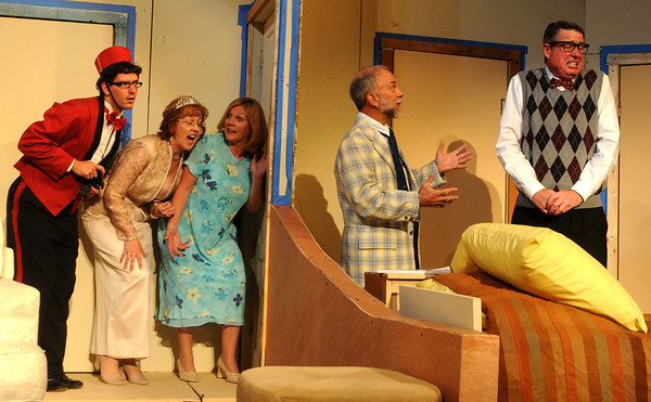 """Jim Vaiknoras/Gloucester Times: Henry Cooper as The Bellhop , Mary Black as Julie ,Courtney Peckham as Maggie, Larry Cook as Max, and Martin Ray as Saunders  in the Theatre in the Pines celebrates its 25th Anniversary Season production of """" Lend Me a Tenor"""" ar Shalin Liu Performance Center in Rockport."""