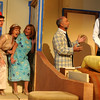 "Jim Vaiknoras/Gloucester Times: Henry Cooper as The Bellhop , Mary Black as Julie ,Courtney Peckham as Maggie, Larry Cook as Max, and Martin Ray as Saunders  in the Theatre in the Pines celebrates its 25th Anniversary Season production of "" Lend Me a Tenor"" ar Shalin Liu Performance Center in Rockport."