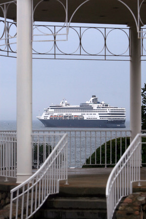ALLEGRA BOVERMAN/Gloucester Daily Times the Holland America's Veendam cruise ship was in Gloucester on Tuesday. This view is from the gazebo at Stage Fort Park.