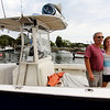 ALLEGRA BOVERMAN/Gloucester Daily Times Heidi Burgess and her father Richard Burgess, of Manchester, on their tuna fishing skiff, Rock On.