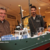 ALLEGRA BOVERMAN/Gloucester Daily Times Paul Gran, left, who summers in Rockport, made this scale model of the Andrea Gail which is now on display at the Cape Ann Museum. Leon Doucette, right, a curatorial assistant, talks with him.