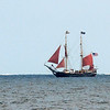 Rockport: The Bounty sails past back beach Beach Monday afternoon.    Desi Smith/Gloucester Daily Times. September 3, 2012