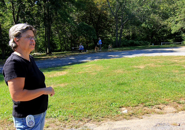 Allegra Boverman/Gloucester Daily Times.  Debra Legg of the Sandy Bay Historical Society is planning to spruce up Haskins Park on Summit Avenue with the help of volunteers.