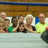 """DESI SMITH/Staff photo.  Kyla Karvelas 9, (left) and Adriana Aiello 8, both of Gloucester react with mixed feelings, as Bobby Ocean lays on the floor in front of them, after being thrown out of the ring by """"Adorable"""" Danny in their match Friday night at the O'maley Rink for the Police Relief Assoiation Wrestling.  August 16,2014"""