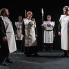 Desi Smith/Staff photo.   (From left to right)  Brian Hutching (Oswald) Willa Brosnihan (Goneril Amerso) Hannah Pentico (Goneril), Erin Deady (Goneril Amazon, and Ken Stoeffler (Albany) act out a scene during a dress rehearsal for Cape Ann Shakespeare Troupe King Lear Tuesday night at the Gloucester Stage Company.      April 26,2017