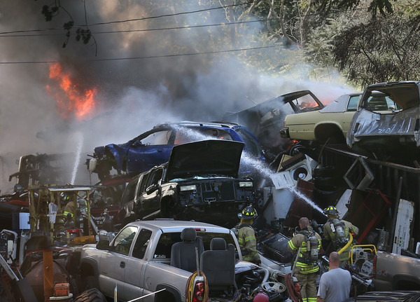 Fire at Auto Salvage Yard