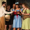Desi Smith Photo.    From left to right, Bookseller (Aedan McCarthy), Egg Lady (Seania McCarthy), Silly Girls (Emily Frick, Chloe Beaulieu) act out a scene in Beauty and the Beast during a dress rehearsal Thursday night at Annisquam Village Hall.  Performances start August 9-14, 2016  @ 7:30 pm at the Annisquam Village Hall at 34 Leonard Street, Gloucester.   Aug 4,2016