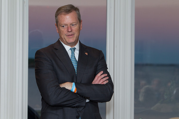 Jared Charney / Photo Governor Baker addresses the Anti Defamation League donors at a private residence in Marblehead, Monday, August 22, 2016.