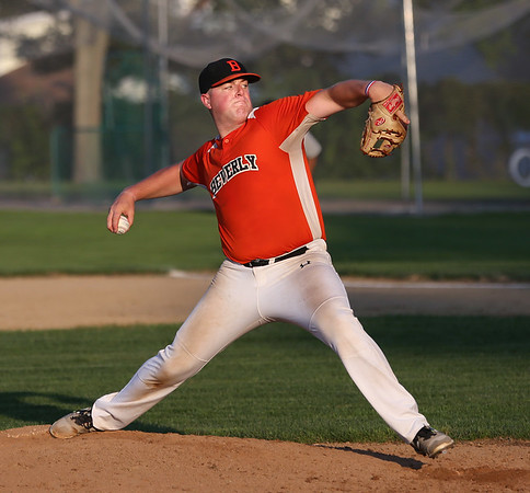MIKE SPRINGER/Staff photo<br /> Beverly's Dan Cashman pitches against Manchester Essex during ITL playoffs Monday in Beverly.<br /> 8/6/2018