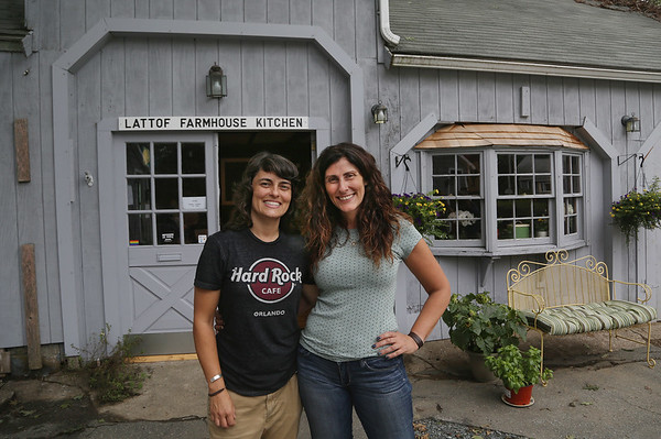 MIKE SPRINGER/Staff photo Proprieters Sonia Pires, left, and Chrissy Sweet in front of their new business, the Lattof Farmhouse Kitchen in Rockport. 8/14/2018