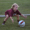 MIKE SPRINGER/Staff photo<br /> Goaltender Willow Manning, 7, stops the ball during the 7th-annual Cape Ann Soccer Camp Tuesday at Magnolia Woods in Gloucester. Eighty campers from four to 13 years of age have participated this summer.<br /> 7/31/2018