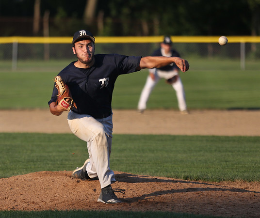 MIKE SPRINGER/Staff photo<br /> Marc Phinney of the Manchester Essex Mariners pitches against Beverly during ITL playoff action Monday in Beverly.<br /> 8/6/2018