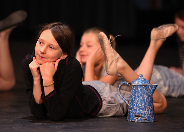 MIKE SPRINGER/Staff photo<br /> Fourth-grader Annette Love rehearses a scene in the O'Maley Academy Musical Theater Camp's musical review at Gloucester High School. In the background is sixth-grader Emily Elliott.<br /> 8/13/2018