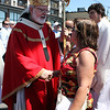 Cardinal Sean O'Malley shakes hands with Gloucester resident Joanne Worthley after St. Peter's Fiesta Mass in St. Peter's Square. Photo by Maria Uminski/Gloucester Daily Times