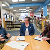 SAM GORESH/Staff photo. From left: Peter Feinstein, chairman of the Sawyer Free Library's building committee, Meredith Fine, president of the library board, and Deborah Kelsey, the executive director of the library discuss the library's plans for a new wing. 12/5/16