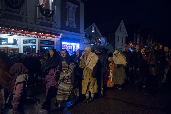 SAM GORESH/Staff photo. Participants in the 71st Annual Rockport Christmas Pageant make their way to the to the lawn of the First Congregational Church of Rockport. 12/17/16