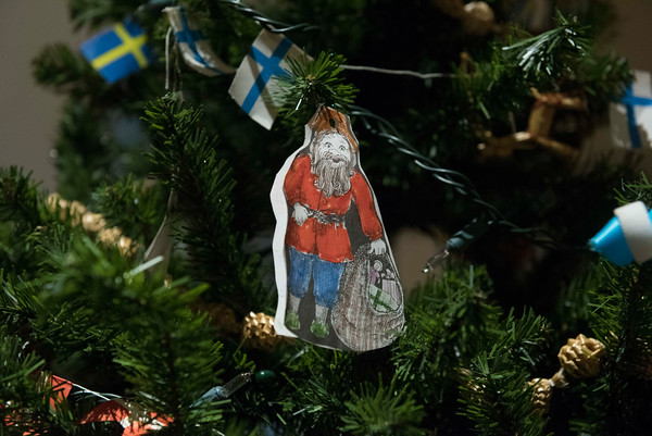 SAM GORESH/Staff photo. A decoration on a Christmas tree at Jul Fest at Spiran Hall in Rockport. 12/10/16