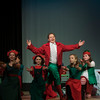 "SAM GORESH/Staff photo. Levin Rudler makes his entrance as Buddy the Elf in Rockport Middle School's production of ""Elf: The Musical,"" which opens tonight at 7pm. 12/14/16"