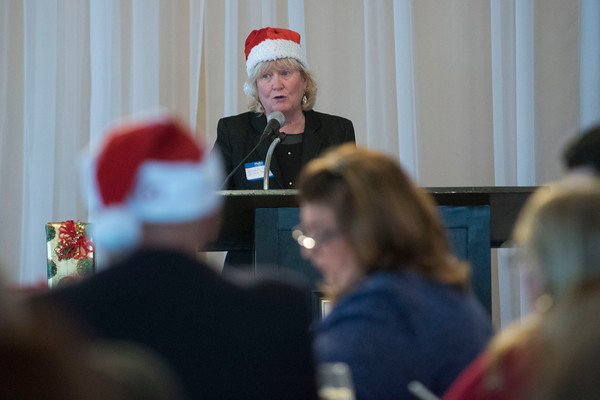 SAM GORESH/Staff photo. Discover Gloucester executive director Elizabeth Carey speaks to the crowd at the Discover Gloucester Awards at the Cruiseport Gloucester ballroom. 12/5/16