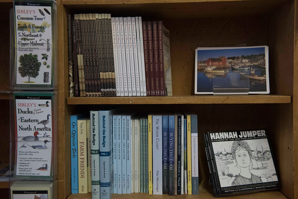 SAM GORESH/Staff photo. Local and environmental books and pamphlets on display at the Toad Hall bookstore in Rockport. 12/8/16
